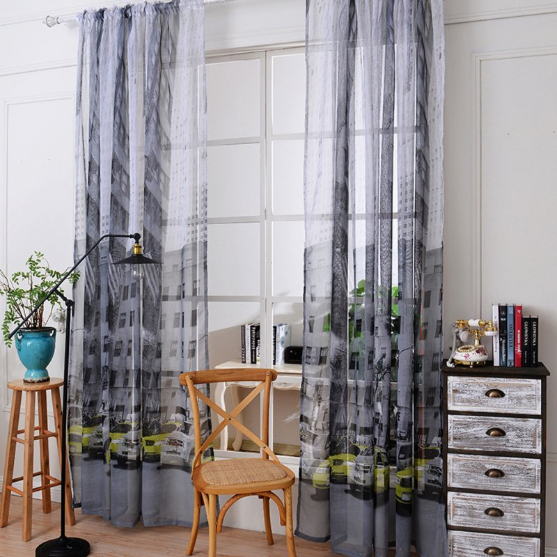 Car Printing Window Curtain Cotton Linen Drapes for Bedroom Balcony Decor Green car_1 meter wide x 2.7 meters high
