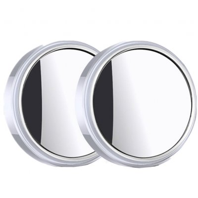 Car Rearview Small Round Mirror Reversing Blind Spot Mirror HD 360 Degree Adjustable Wide Angle Reflective Mirror White