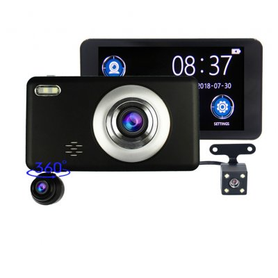 Car Recorder 3 Lens 360 Degree Rotation Front