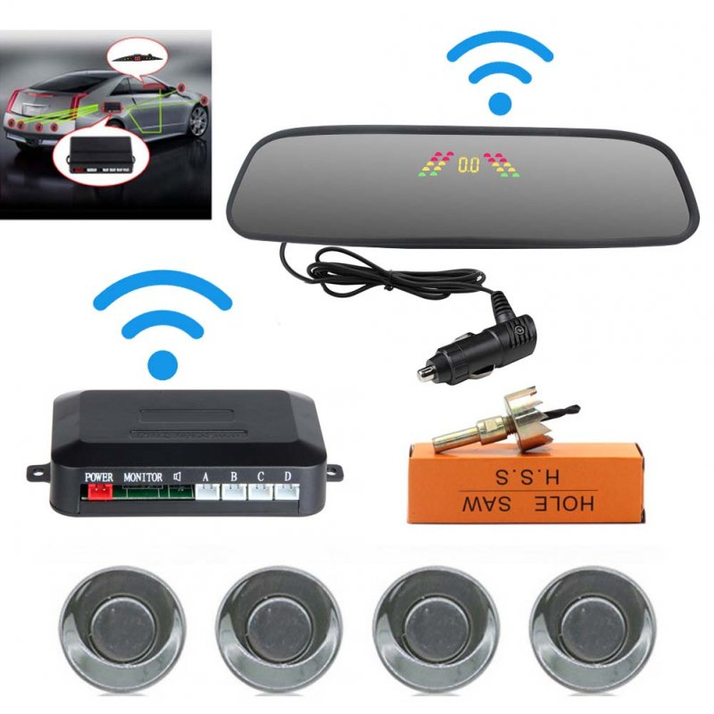 Car Reversing Parking Camera Wireless Parking Sensor Car Rear View Parking Sennor Kit Detector Led Display Automatic Auxiliary Car Parking Gray probe
