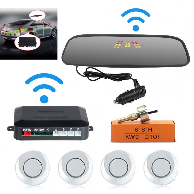 Car Reversing Parking Camera Wireless Parking Sensor Car Rear View Parking Sennor Kit Detector Led Display Automatic Auxiliary Car Parking Silver probe