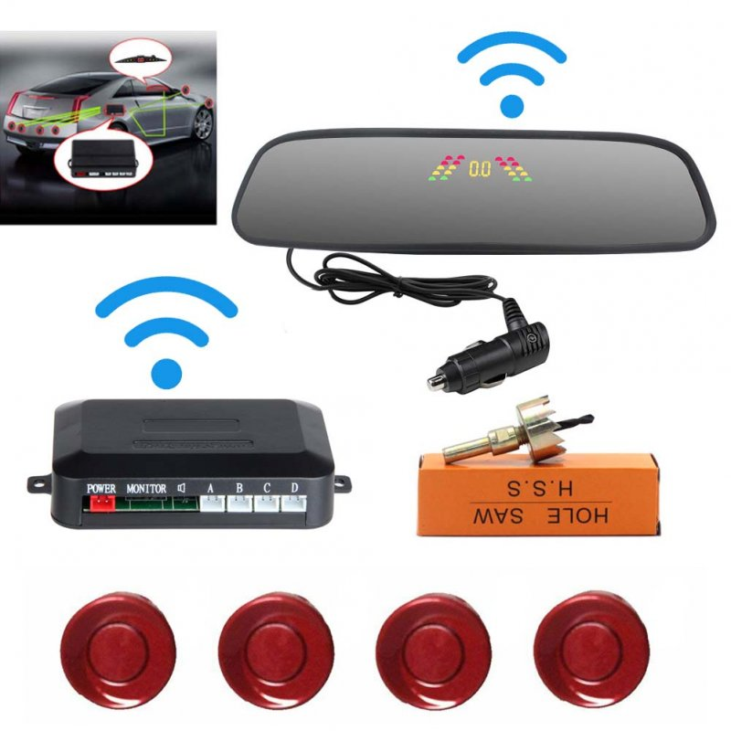 Car Reversing Parking Camera Wireless Parking Sensor Car Rear View Parking Sennor Kit Detector Led Display Automatic Auxiliary Car Parking Red probe