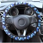 Car Steering Wheel Covers Antiskid Stretch-on Cute Blue Printing Universal 36cm-40cm Car Steering Wheel Cover blue