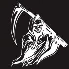 Car Sticker Grim Reaper Skull Pattern Decal Machine Car Truck Wall Window Vinyl Sticker white