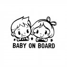 Car Stickers Baby On Board Cute twins Colorful Auto Decor Sticker Warning Safety Car-Styling Decals black