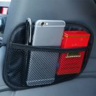 Car Storage Net Bag Pocket Organizer Interior Accessories for Car Organizer Microfiber leather black large