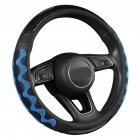 Car Supplies Steering Wheel Cover Genuine Leather SUV Four Seasons Universal Absorbent Non-slip  Cow Skin Cover Black and blue_38cm
