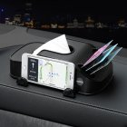 Car Tissue Box Multi function Mobile Phone Bracket Inserter Auto Tissue Box Container 3 in 1 Paper Holder black