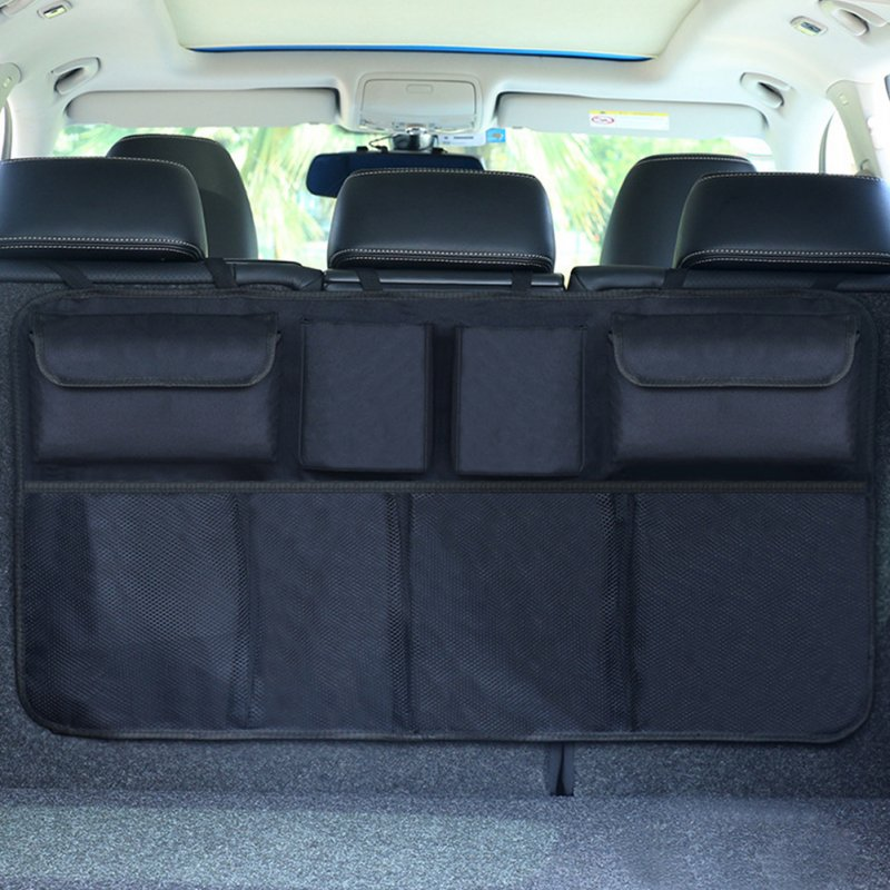 Car Trunk Organizer Adjustable Backseat Storage Bag Automobile Seat Back Organizers Upgraded black (with storage bag)
