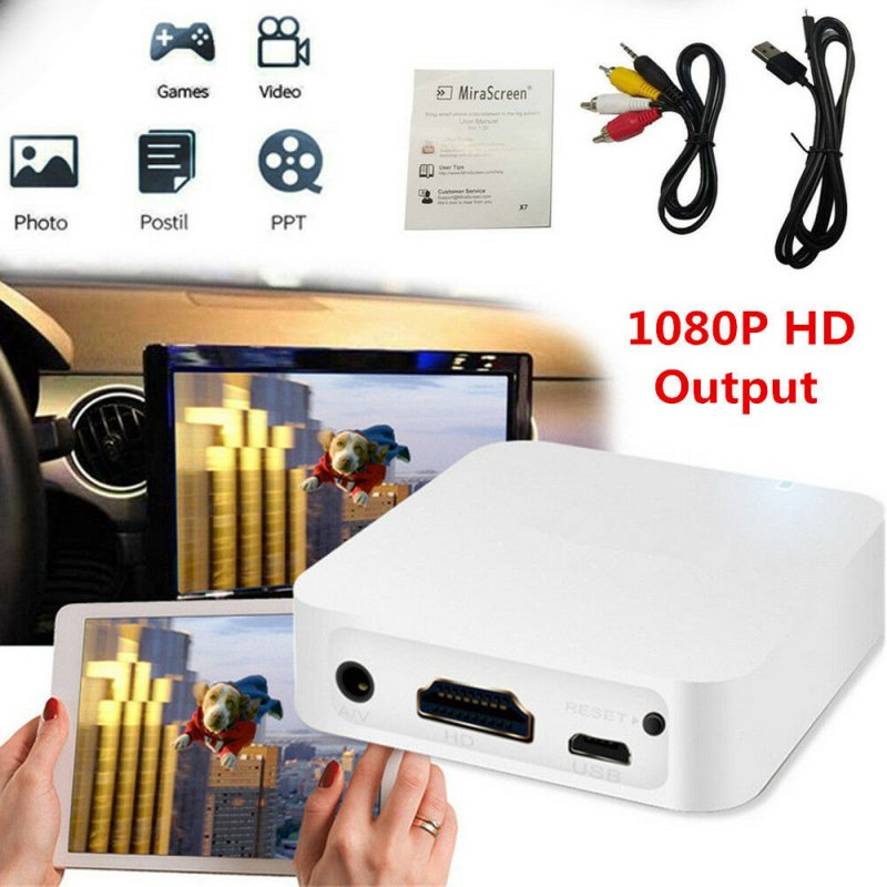 Car WiFi Display Miracast Box Mirror Link Adapter Airplay DLNA Android iOS white