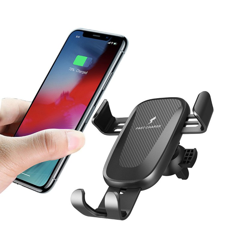 Car Wireless Charger QI Gravity Induction 10W Fast Charging Air Vent Mount Universal Phone Stand Holder black