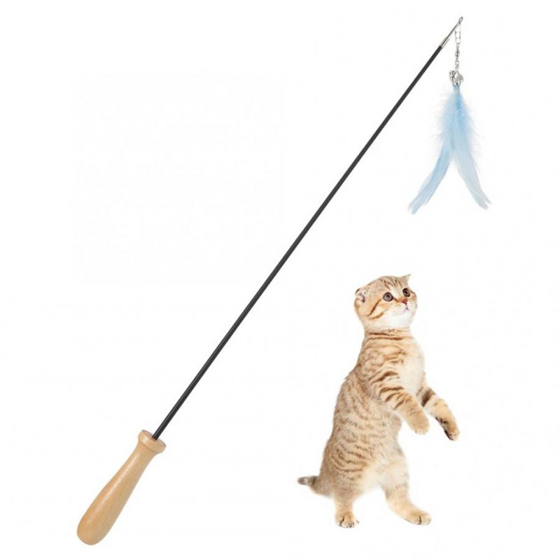 Carbon Fibre Blue Telescopic Pet Cat Funny Teaser Stick with Feather Bell Interactive Exercise Toy blue