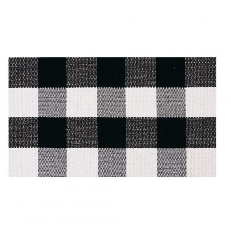 Carpet Doormat Cotton Plaid Floor Door Kitchen Bathroom Outdoor Porch Laundry Woven Carpet Black and white grid_45*70cm