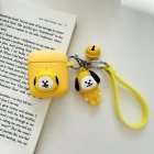 Cartoon Animal Doll Keychain for Apple Airpods Case Accessories Protective Cover yellow
