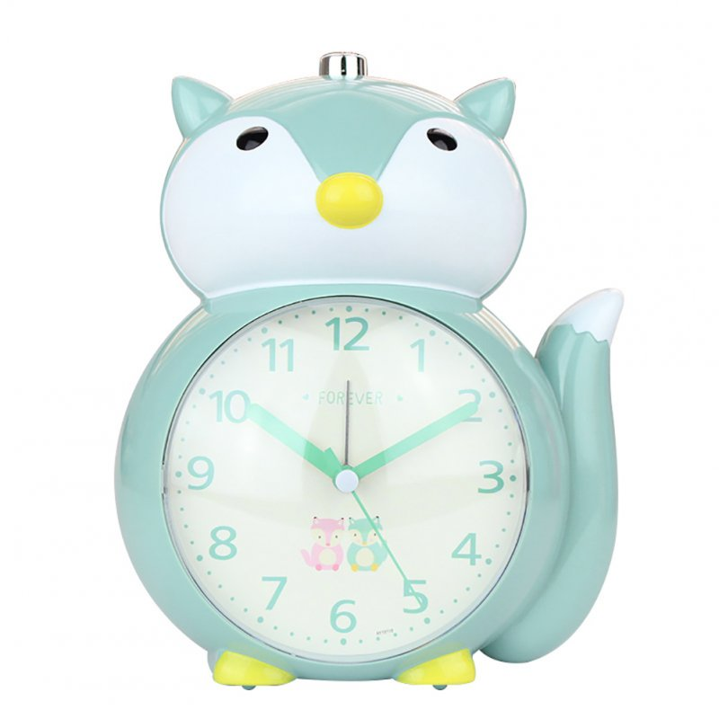 Cartoon Animal Shape Alarm Clock Kids Snooze Function Silent Battery Operated Clock for Bedroom Bedside green