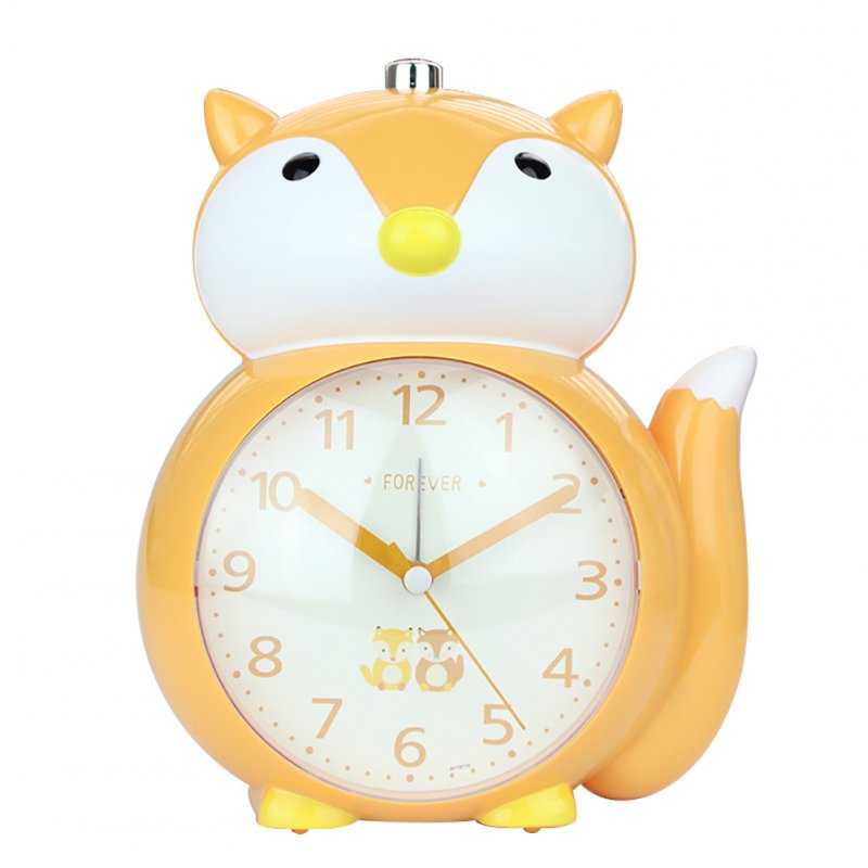 Cartoon Animal Shape Alarm Clock Kids Snooze Function Silent Battery Operated Clock for Bedroom Bedside Orange