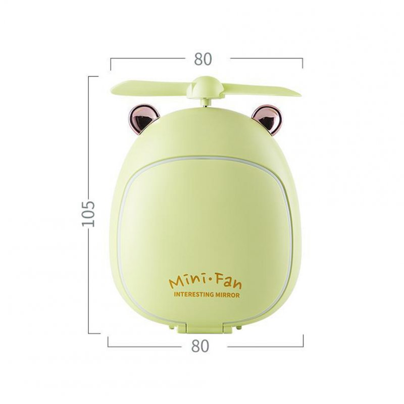 Cartoon Bear Beauty Makeup Mirror Lamp Fan Handheld Portable USB Rechargeable Small Fan Bear green_10.5 * 3.5 * 8cm