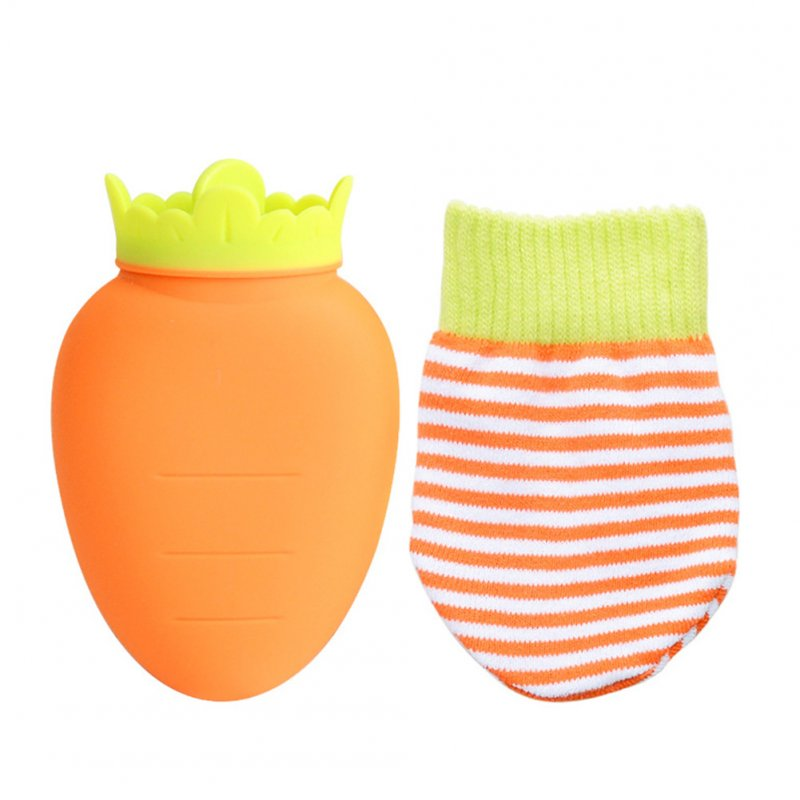 Cartoon Carrot Shape Silicone Hot Water Bag with Cover Cold Storage Microwave Heating Hand Warmer Yellow carrot