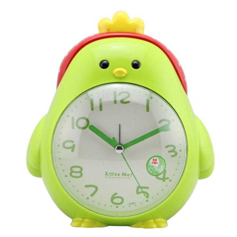 Cartoon Chicken Shape Mute Movement Alarm Clock with Night Light for Student Kids Bedroom green