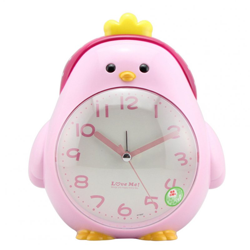 Cartoon Chicken Shape Mute Movement Alarm Clock with Night Light for Student Kids Bedroom Pink