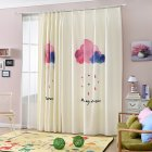 Cartoon Cloud Printing Window Curtain Cotton Linen Drapes for Kids Room Bedroom Living Room Clouds 1 5m wide   2 6m high