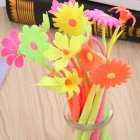Cartoon Flower Shape Soft Gel Pen Sign Pen Random Color random 0 5mm