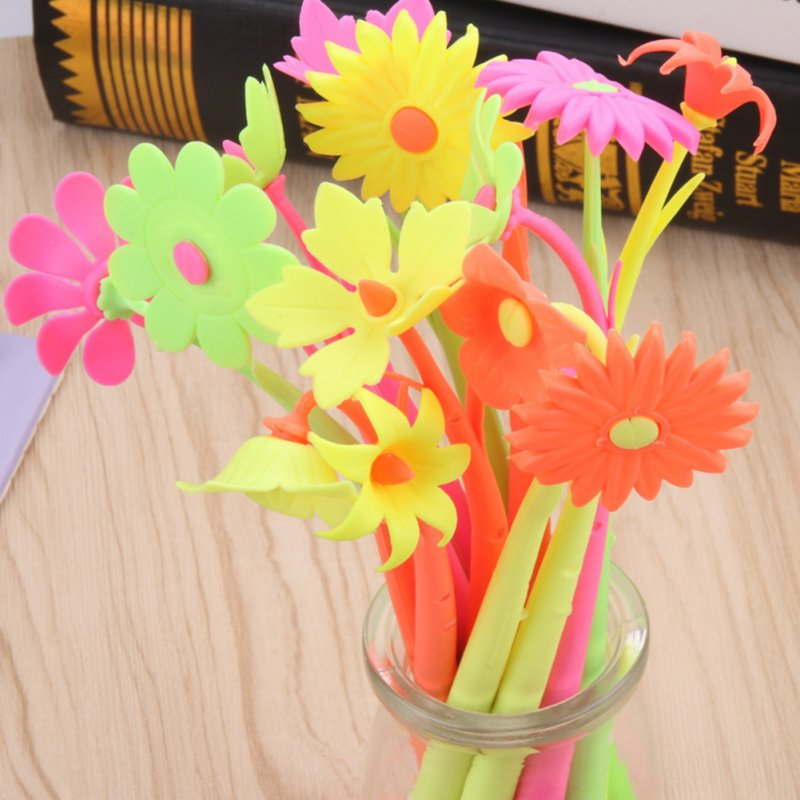 Cartoon Flower Shape Soft Gel Pen Sign Pen Random Color random_0.5mm