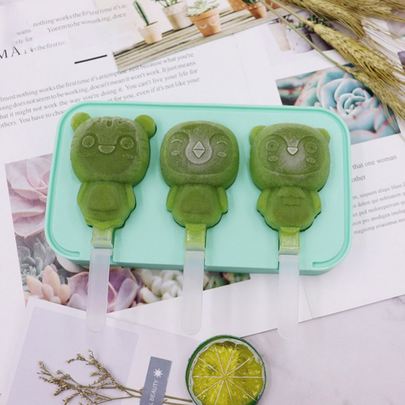 Cartoon Ice Cream Mold Diy Silicone Ice Maker Mould Kitchen Accessories random_Baby tiger