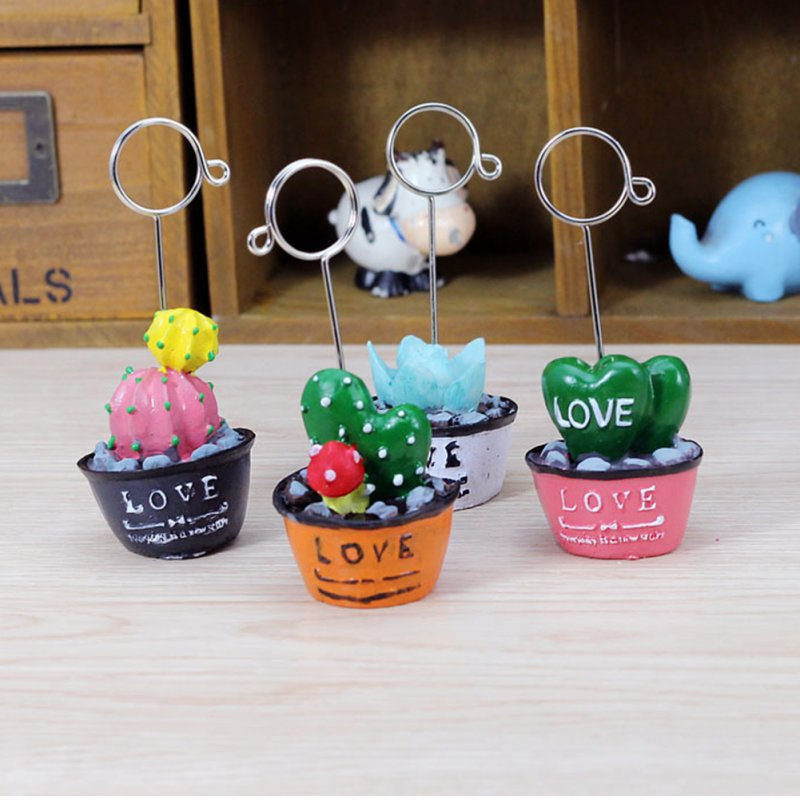 Cartoon Photo Clip Holder Decoration Desk Card Memo Stand Love heart-shaped / Pink bottom