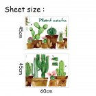 Cartoon Potted Green Cactus Pattern Personalized Decoration Indoor Wall Sticker Background Decal 45 * 60CM * 2PCS