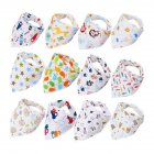 Cartoon Printing Double Button Cotton Bibs for Baby Infant Boys Girls Feeding