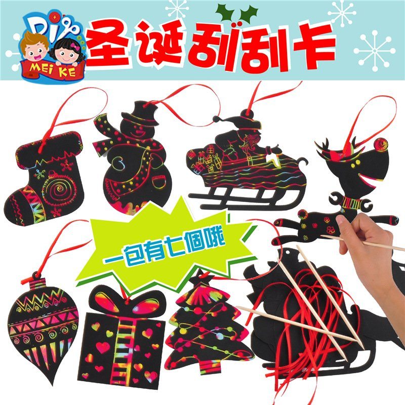 Cartoon Scratch Card Christmas Tree Ornaments Scratch Art Paper Coloring Cards Scraping Drawing Toy Christmas scratch card