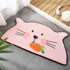 Cartoon Shaped Floor  Mat Bedroom Door Carpet Non-slip Absorbent Semicircular Floor  Mat Carrot Bunny_75*150cm