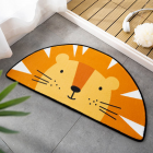 Cartoon Shaped Floor  Mat Bedroom Door Carpet Non-slip Absorbent Semicircular Floor  Mat Orange lion_40*80cm
