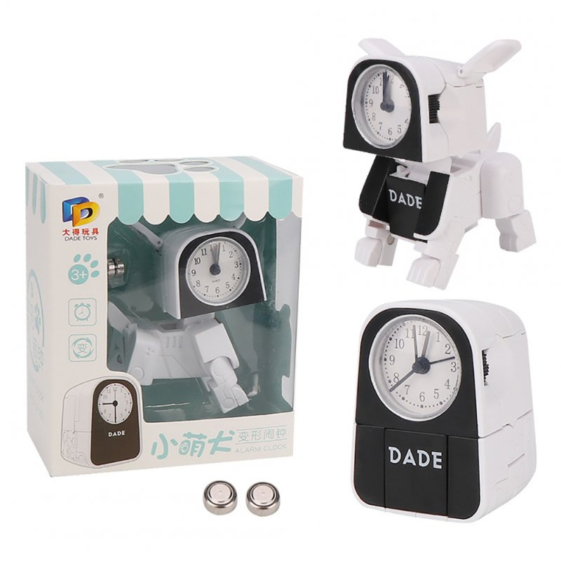 Cartoon Small Alarm Clock Children Multi-function Deformation Cute Robot Electronic Alarm Clock white