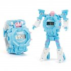 Cartoon Transformable Robot Electronic Wristwatch Digital Display Watch Child Boy Girl Toy light blue