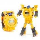 Cartoon Transformable Robot Electronic Wristwatch Digital Display Watch Child Boy Girl Toy yellow