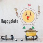 Cartoon Waterproof Wall Sticker Kitchen Self Adhesive Wallpaper for Stove Ceramic Tile Cute plate