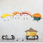 Cartoon Waterproof Wall Sticker Kitchen Self Adhesive Wallpaper for Stove Ceramic Tile Funny sushi