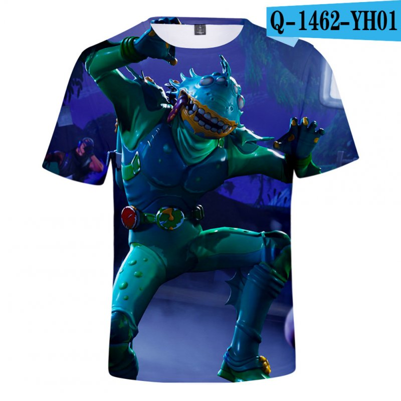 Casual 3D Cartoon Pattern Round Neck T-shirt Picture color AB_XXS