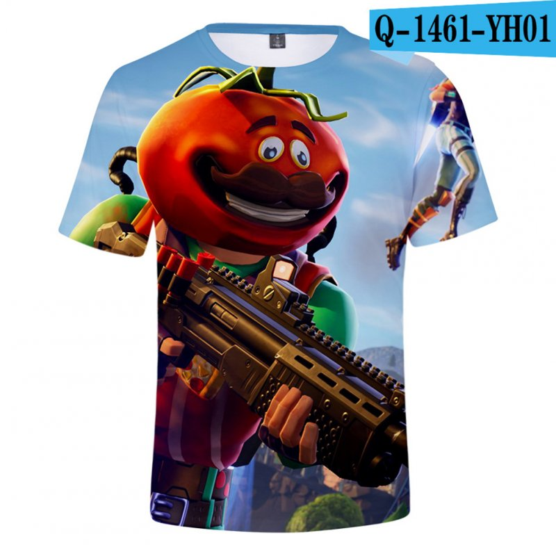 Casual 3D Cartoon Pattern Round Neck T-shirt Picture color AC_L