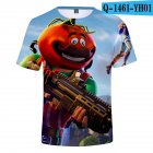 Casual 3D Cartoon Pattern Round Neck T shirt Picture color AC M