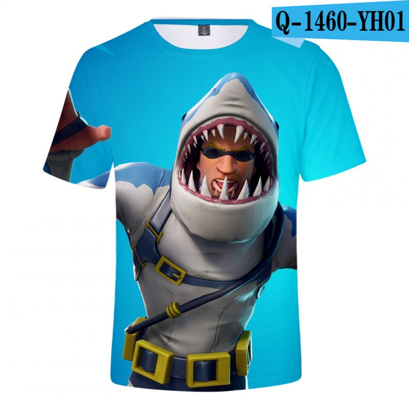 Casual 3D Cartoon Pattern Round Neck T-shirt Picture color AD_L