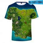 Casual 3D Cartoon Pattern Round Neck T-shirt Picture color AE_XL