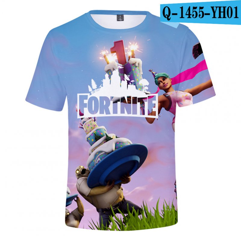 Casual 3D Cartoon Pattern Round Neck T-shirt Picture color AF_S