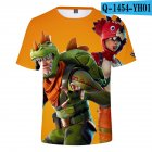 Casual 3D Cartoon Pattern Round Neck T shirt Picture color AG L