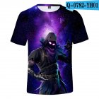 Casual 3D Cartoon Pattern Round Neck T shirt Picture color R M