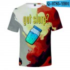 Casual 3D Cartoon Pattern Round Neck T-shirt Picture color T_L