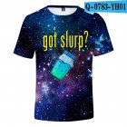 Casual 3D Cartoon Pattern Round Neck T shirt Picture color U XXS