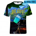 Casual 3D Cartoon Pattern Round Neck T-shirt Picture color W_XS